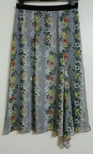 NEW M&S Size 14 Butterfly Print Grey Chiffon Midi Skirt Floral Summer Holiday