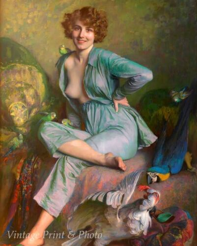 The Birds by Emile Friant Art Woman Parrot Parakeet Breast Toes  8x10 Print 0773
