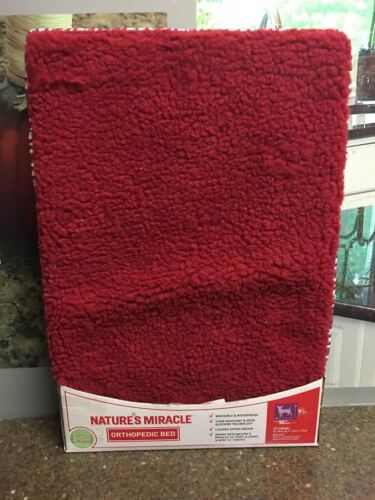 """Nature's Miracle 9"""" x 15"""" Orthopedic Pet Bed - Red Pets up to 10lbs. New"""