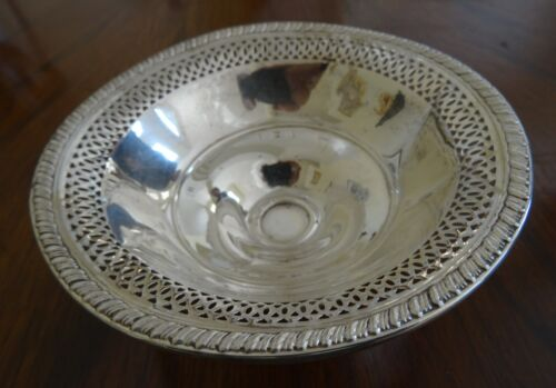 Sterling Silver Weighted Sweetmeat, Candy Dish Sherbet with Reticulared Rim