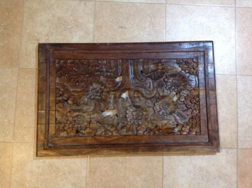 Vintage Antique Handcrafted Floral Wooden Wall Hanging