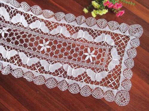 Vintage Style Hand Bobbin Lace Butterfly Cotton Table Runner White L