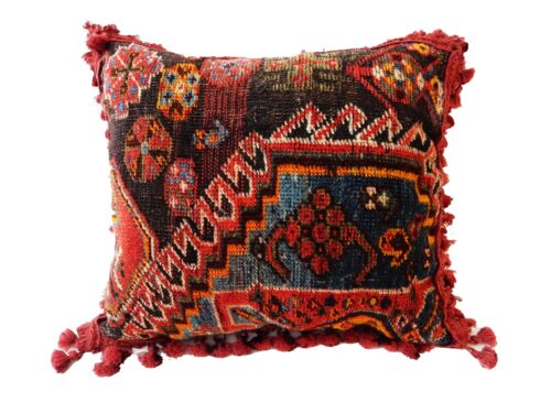 "Stunning Rare large 19th c Tribal Kashqai Rug fragment Pillow 17"" w by 14.5"""