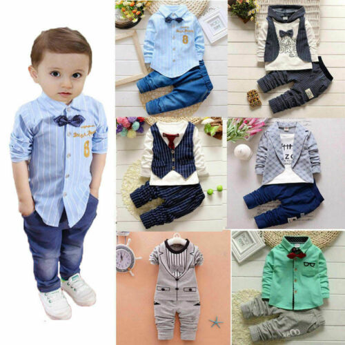 1 set Baby clothes kids boys wedding party suit top+pants tuxedo outfits set