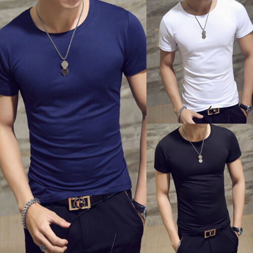 New Men's O Neck Tops Tee Shirt Slim Fit Short Sleeve Solid Color Casual T-Shirt