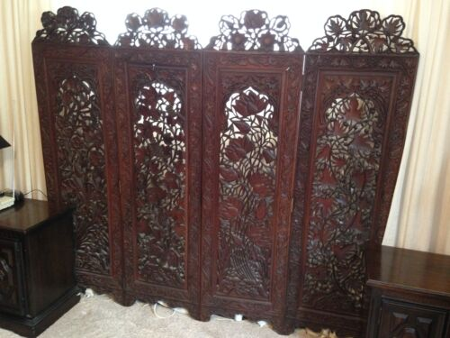 Antiq FLOOR SCREEN / ROOM DIVIDER hand carved both sides FLORENCE ITALY 4 season
