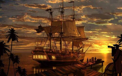 Artwork Pirates Ship Boat Oil Painting Printed On Canvas Home Art Wall Decor