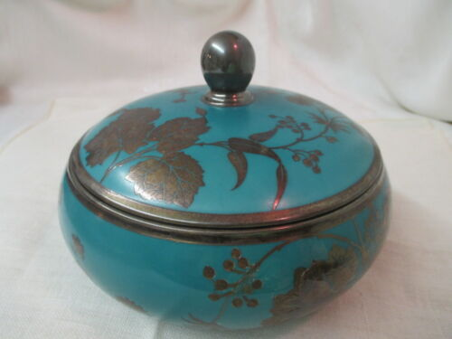 1930's Rosenthal green/turquoise Bowl with Lid Silver Overlay Floral green mark