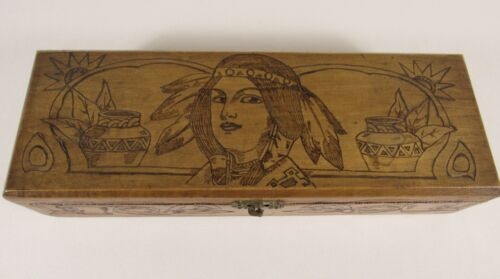 Vintage FLEMISH ART COMPANY Pyrography Indian Maiden Wooden Box #681