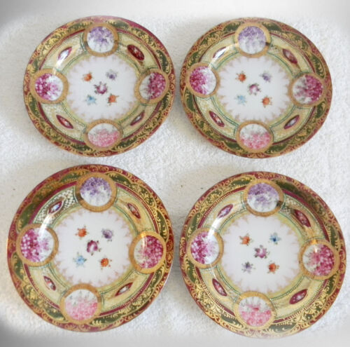 Set of four hand painted Wanli plates - floral and gold - FREE SHIPPING