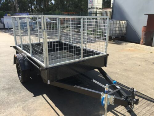 Box Trailer 8X5FT AUSTRALIAN MADE HEAVY DUTY C-PLATE WITH 3FT 90CM CAGE MOWING