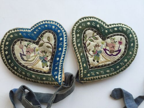 Antique Chinese Heart Shaped Ear Warmers With beautiful Embroidered Silk 19thC