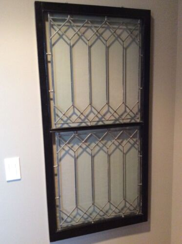 Vintage leaded glass window, wood-framed, for use as table or art object