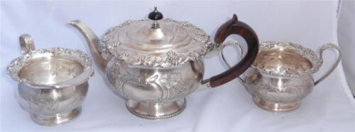 Antique/VTG Sheffield Reproduction on Copper Grape & Leaves Teapot Sugar Creamer