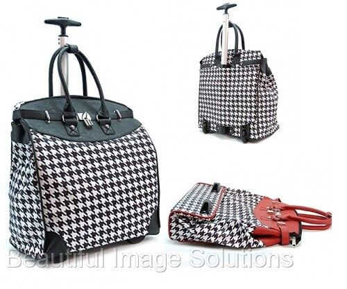 "Fashion Carry On Laptop Bag With Wheels Houndstooth 14"" Foldable Travel Bag"