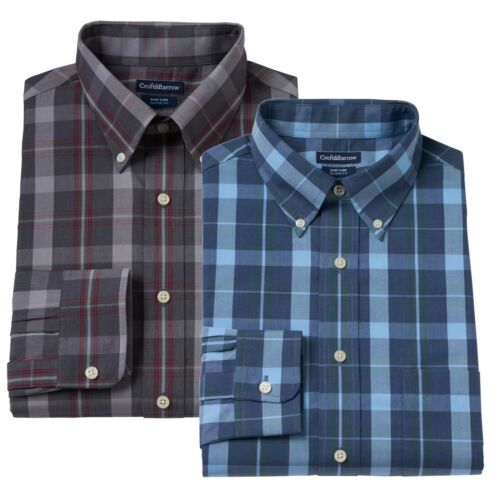 New Croft & Barrow Men Classic-Fit Blue Plaid Button-Down-Collar Dress Shirt $45