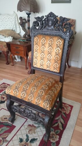 ROCOCO STYLE ANTIQUE HAND CARVED WOODEN SLIPPER CHAIR ORNATE ANGELS FILIGREE