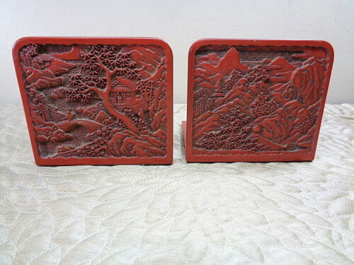 Vintage Chinese Carved Cinnabar Bookends Raised Relief