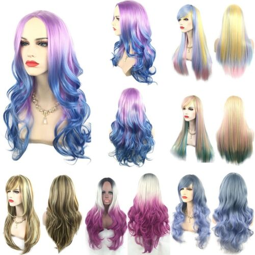 Women Ombre Hair Full Wig Fashion Party Cosplay Colorful Long Wavy Straight Wigs