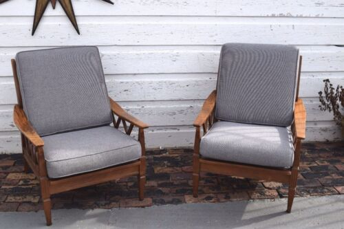 Pair Mid Century Modern Danish Modern Solid Oak Wood lounge chairs
