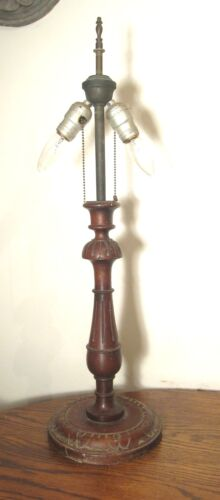 antique ornate detailed hand carved wood colonial electric table lamp light old