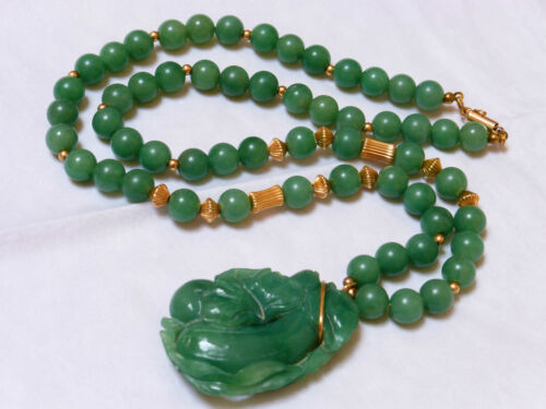 "VINTAGE CHINESE 14K GOLD CARVED JADE BEAD NECKLACE PENDANT 24"" LONG"