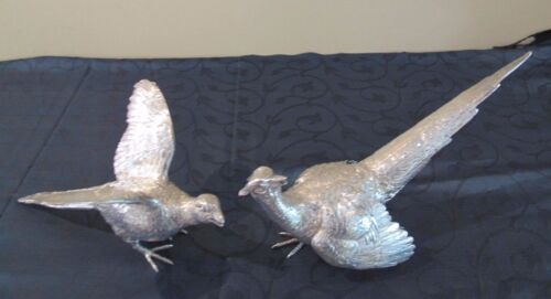 A PAIR OF STERLING SILVER PHEASANTS HALLMARKED EDWARD BARNARD LONDON C.1965