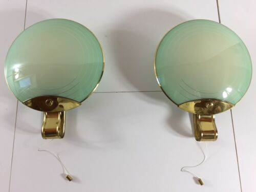 2 Sconces Italy 1930s Art Deco Murano Wall Lamp  Fontana Era Chiesa Arte Ingrand