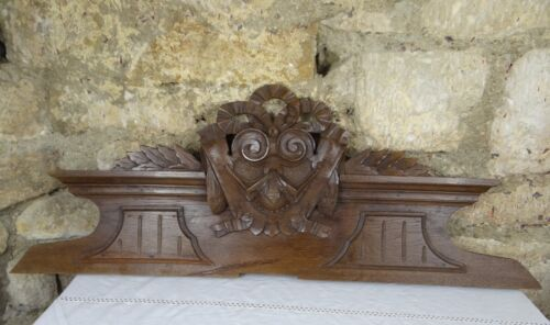 "37""  Antique French Hand Carved Pediment 19 th - Solid Oak Wood"