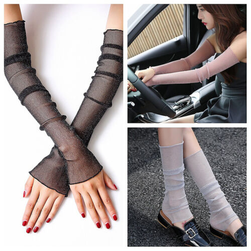 Fashion Women Lady Extra Long Lace Cuffs Fingerless Gloves Sunscreen Arm Foot