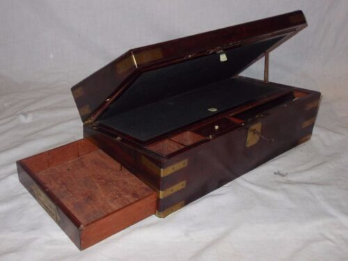 Awesome Rare Georgian Military Compartmented Writing Slope Lap Desk