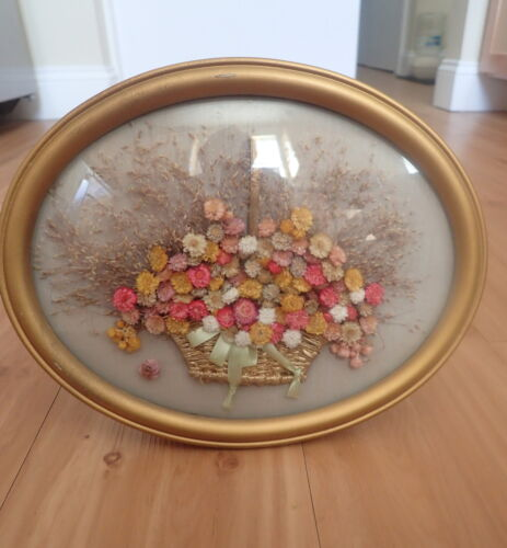 Antique Victorian Framed Dried Flower Art With Convex Glass Victorian decorating