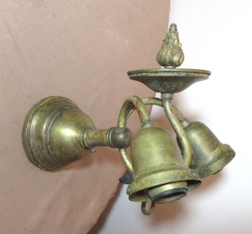 antique Victorian gilt brass old gas electric wall sconce fixture bronze lamp