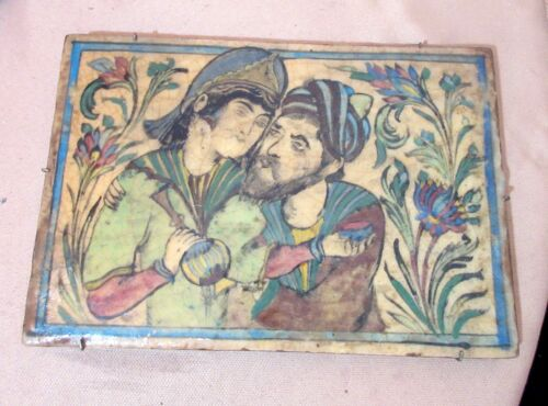 LARGE antique 18th century handmade Persian pottery figural thick tile painting