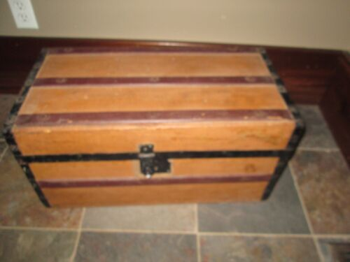 Child's Small Antique Wood Trunk METAL STRAPS WOOD HANDLES