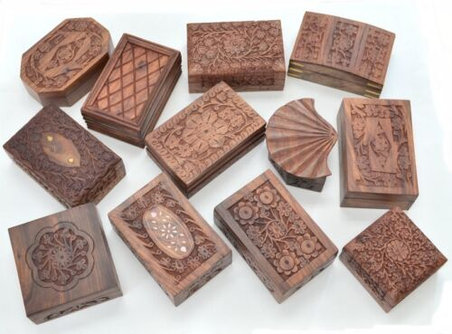 12 PCS ASSORT HANDMADE ROSEWOOD CARVED WOOD BOXES #F-1207
