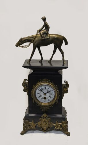 European Antique Style Marble Clock w Horse Rider Statue & Floral Brass Fittings
