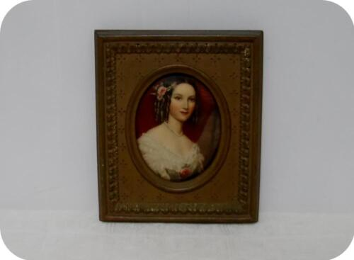 Vtg Ornate Oval Gold Wood Framed Wall Bubble Picture Of Victorian Lady
