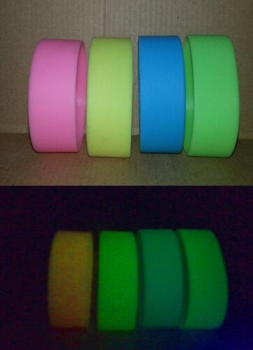 Glow in the dark WIDE silicone wristband bracelet - choose from 4 colours