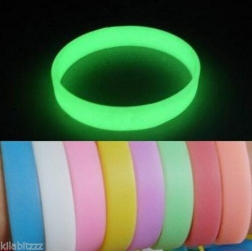 Glow in the dark silicone wrist band bracelet - 9 colour choices