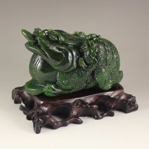 Beautiful Rare and Heavy Chinese Green Hetian Jade Statue - Fortune Toad
