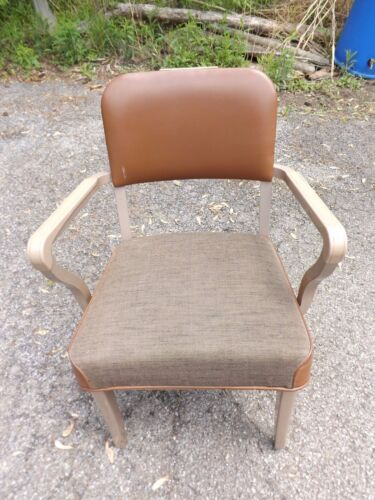 Steelcase office chair with arms mid century industrial steam punk beige