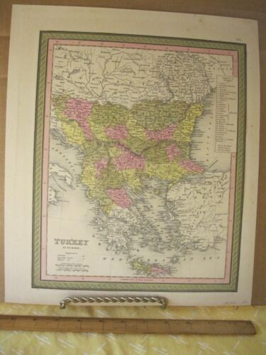 Vintage Print,TURKEY IN EUROPE,Johnson or Mitchell,c1850,Color