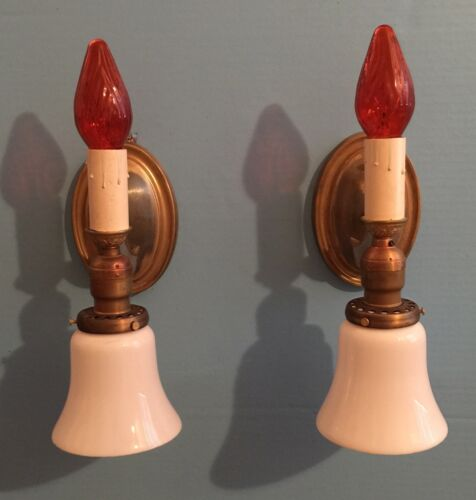 Pair 2 Candle & Glass Shade Wall Sconces Art Deco Beautiful Unique Rare