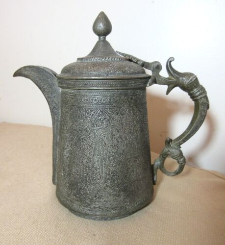 antique 1800's hand made tooled copper middle eastern Persian kettle pitcher pot