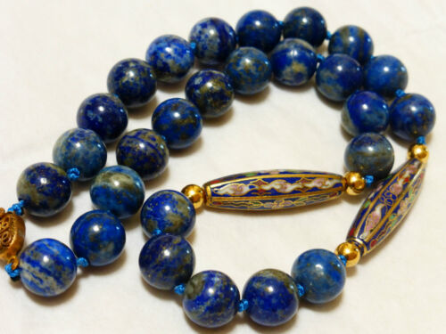 CHINESE VINTAGE Cloisonne and BLUE LAPIS 12mm BEAD NECKLACE, 19""