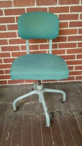 Vintage Harter Corporation Industrial Office Chair; Rollers, MCM lines, Green