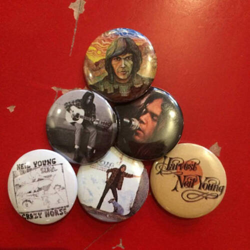"""1.25"""" Neil Young pin back button set of 6"""