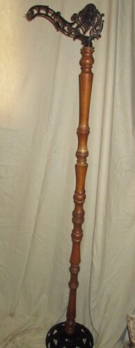 ANTIQUE FLOOR BRIDGE LAMP...WOODEN SPINDLE / CAST IRON BASE & BRIDGE