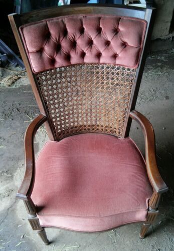 008 Vintage Wood Wicker Back Captains Chair Cushion Seat Rest Mid Century??